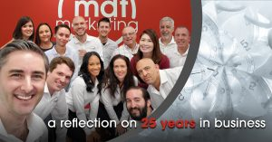 Image of MDT team with a text on the image showing a reflection on 25 years in business