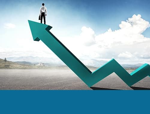 standing on a upward chart