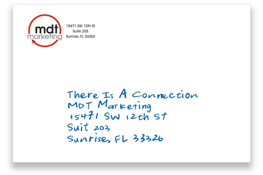 Front of a handwritten postcard.