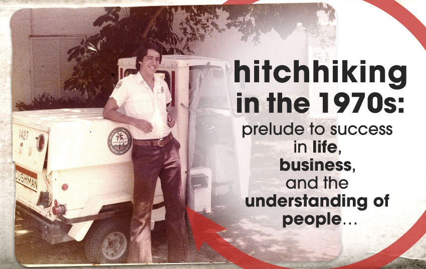 Image of a man leaning on a small white vehicle with a text on the image showing hitchhiking in the 1970s: prelude to success in life, business, and the understanding of people...